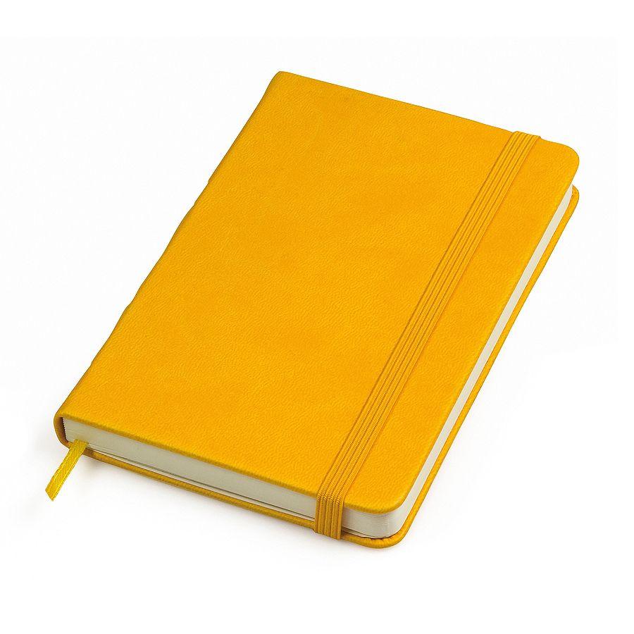 Фотография товара Бизнес-блокнот «Casual», 130*210 мм, желтый, твердая обложка,  резинка 7 мм, блок-линейка, тиснение