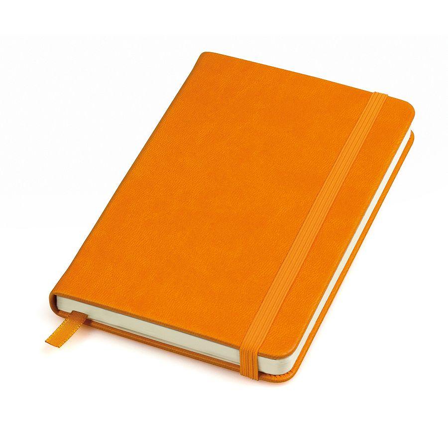 Фотография товара Бизнес-блокнот «Casual», 130*210 мм, оранжев, твердая обложка,  резинка 7 мм, блок-линейка, тиснение