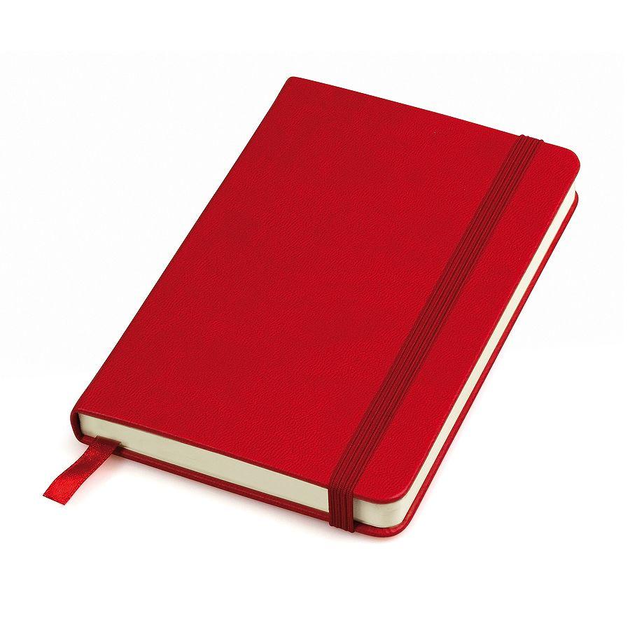 Фотография товара Бизнес-блокнот «Casual», 130*210 мм, красный, твердая обложка,  резинка 7 мм, блок-линейка, тиснение