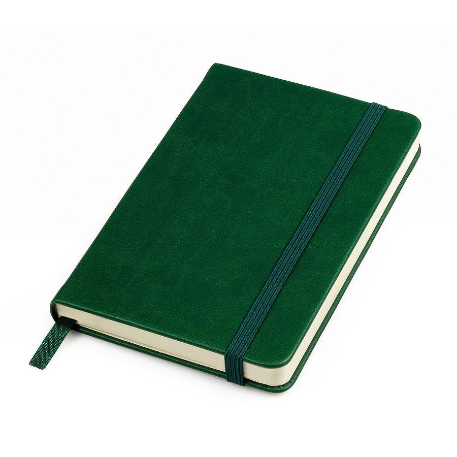 Фотография товара Бизнес-блокнот «Casual», 130*210 мм, зеленый, твердая обложка,  резинка 7 мм, блок-линейка, тиснение
