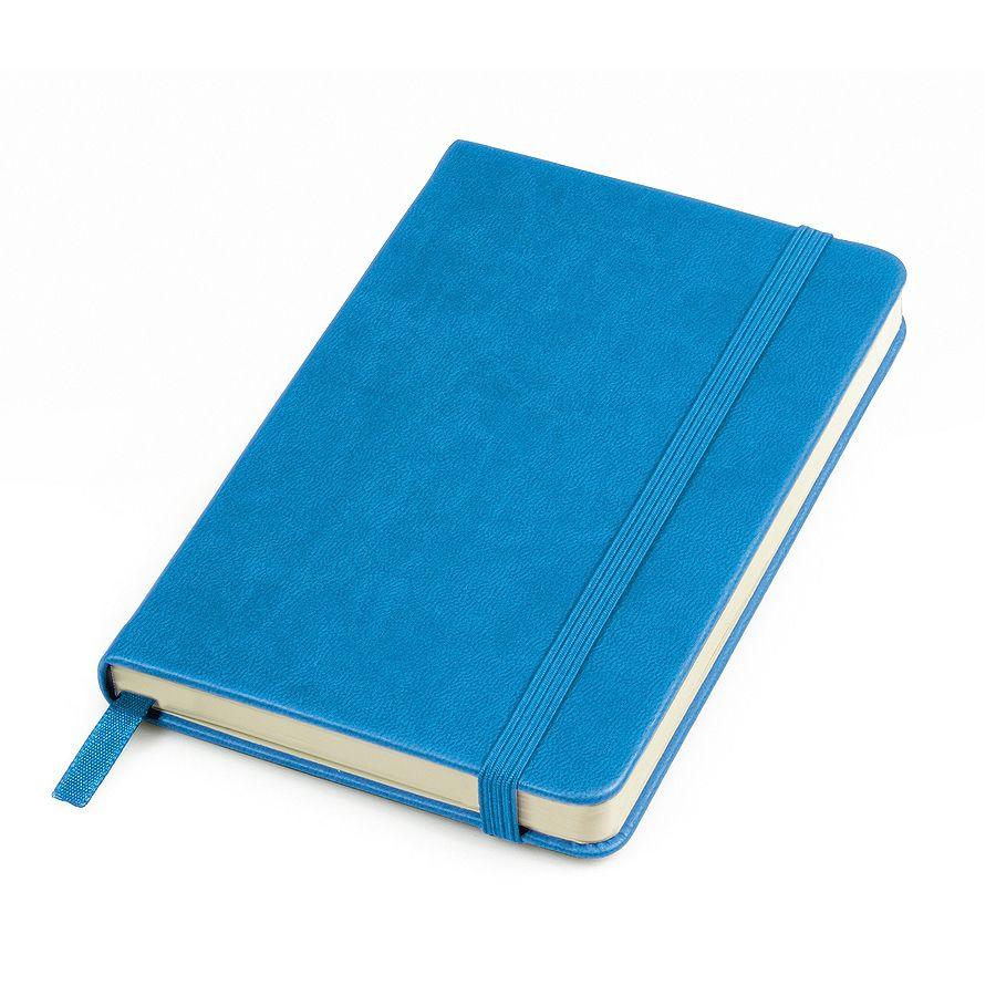 Фотография товара Бизнес-блокнот «Casual», 130*210 мм, голубой, твердая обложка,  резинка 7 мм, блок-линейка, тиснение