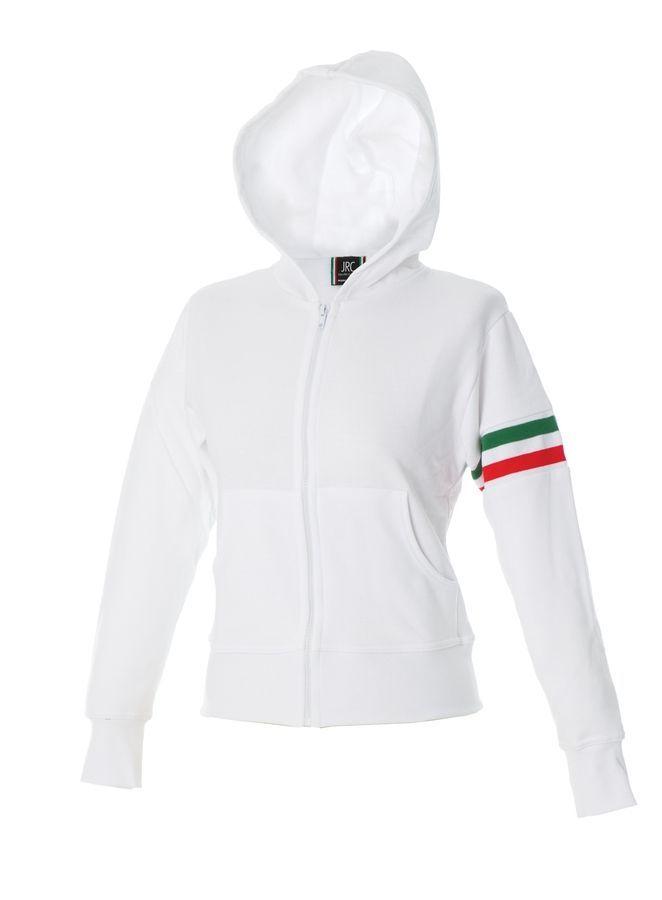 ELBA Жен. Толстовка Италия, с капюшоном, на молнии, белый, размер S