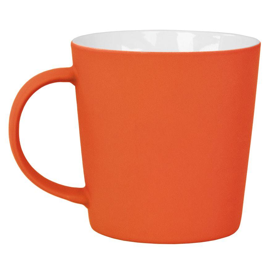 Кружка «Bali» с прорезиненным покрытием, оранжевый, 400 мл, фарфор