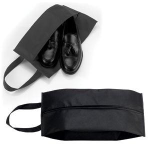 Футляр для обуви на молнии «HAPPY TRAVEL», черный , нетканка , 20*42*15 см, шелкография