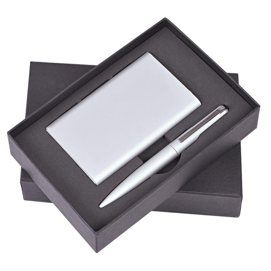 Набор «Mirror»: универсальное зарядное устройство (6000мАh) и ручка, серебристый, 17,5х11х4см,металл