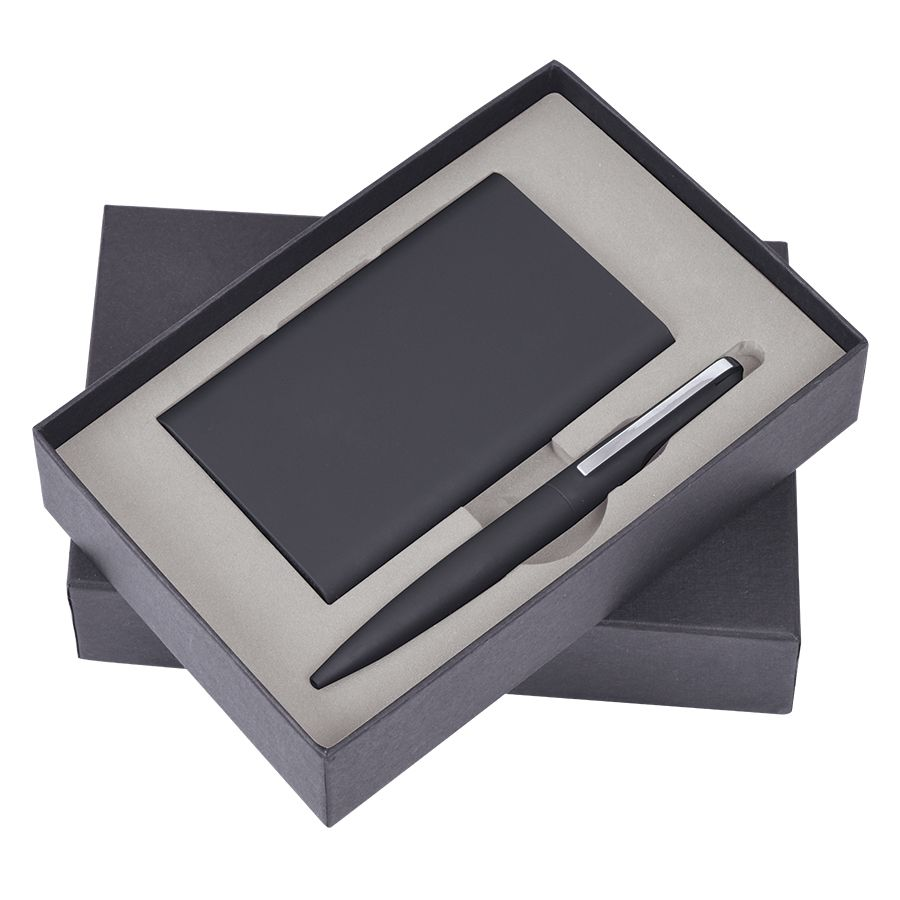 Набор «Mirror»: универсальное зарядное устройство (6000мАh) и ручка, черный, 17,5х11х4см, металл
