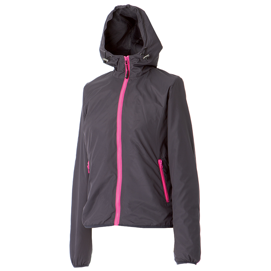 """Ветровка женская """"Madeira Lady"""", темно-серый/розовый_S, 100% полиэстер, 20D; подкладка: 100% п/э"""