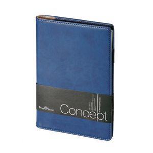 Еженедельник недатированный Concept, А5, синий, бежевый блок, без обреза