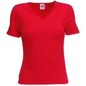 Футболка «Lady-Fit V-Neck T», красный_S, 95% х/б, 5% эластан, 210 г/м2