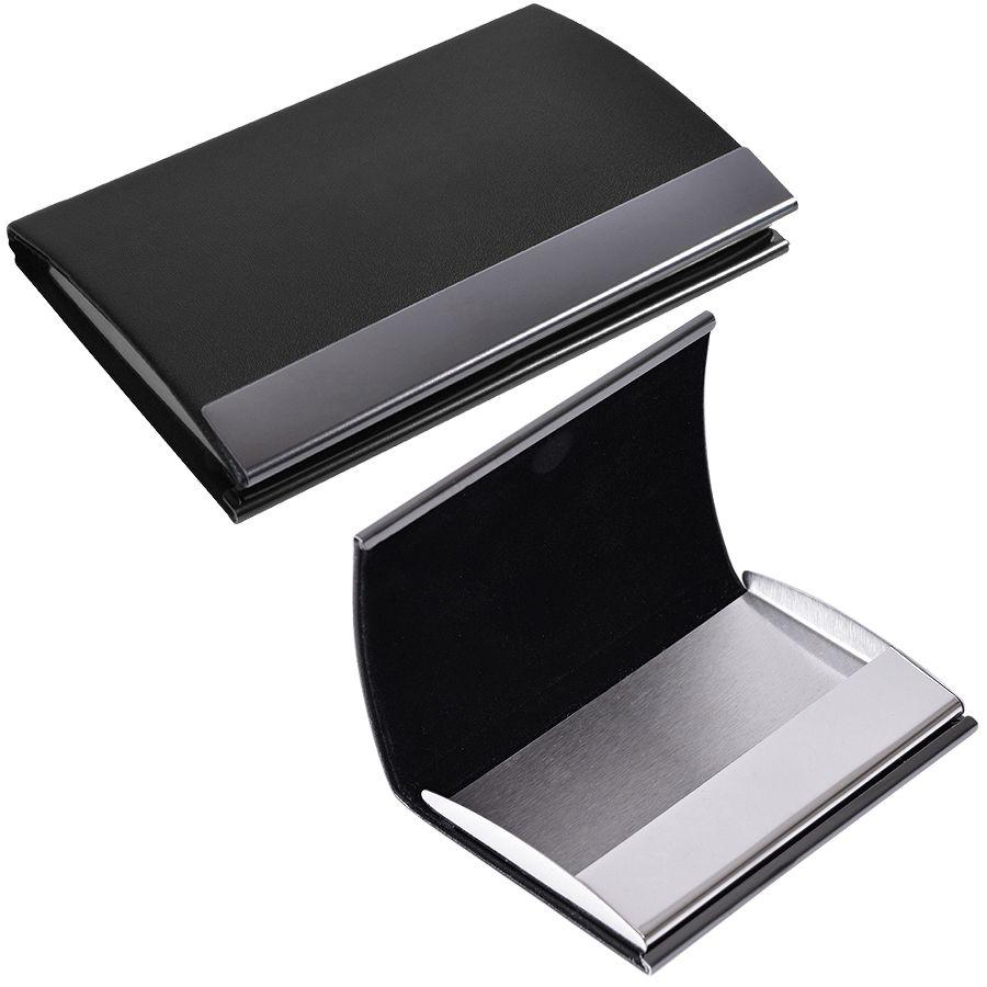 Фотография товара Визитница «Конгресс»; черный; 6,5х9,6х1,2 см; иск. кожа, металл; лазерная гравировка