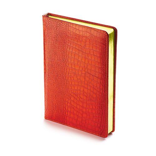 Ежедневник недатированный Manhattan, А5, оранжевый, бежевый блок, золотой обрез, ляссе