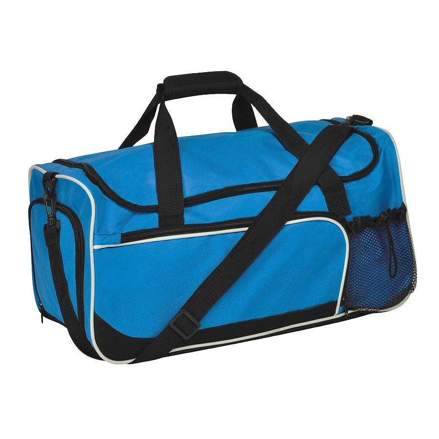 Сумка дорожная «Sporty»; синий с черным; 52х27х26  см; полиэстер; шелкография