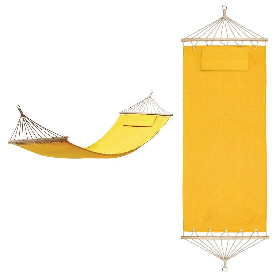 Гамак с подушкой  «МАЙАМИ» ,  в сумке ; желтый; 200х80см;  хлопок, дерево, шелкография