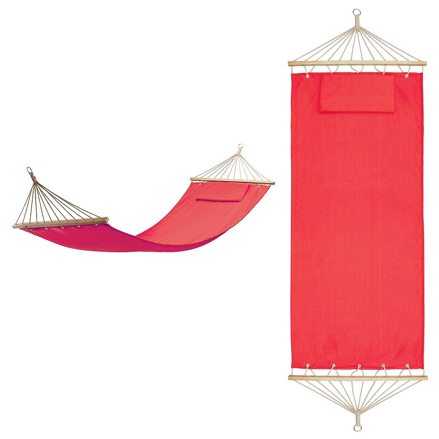 Гамак с подушкой  «МАЙАМИ» ,  в сумке ; красный; 200х80см;  хлопок, дерево, шелкография