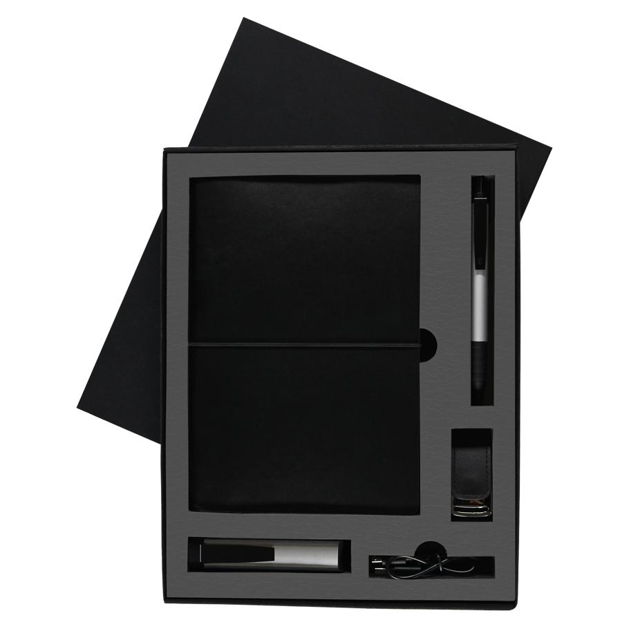 Фотография товара Набор  BLACKY TOWER:универсальное зарядное устройство(2200мАh),блокнот,USB flash-карта и ручка в под