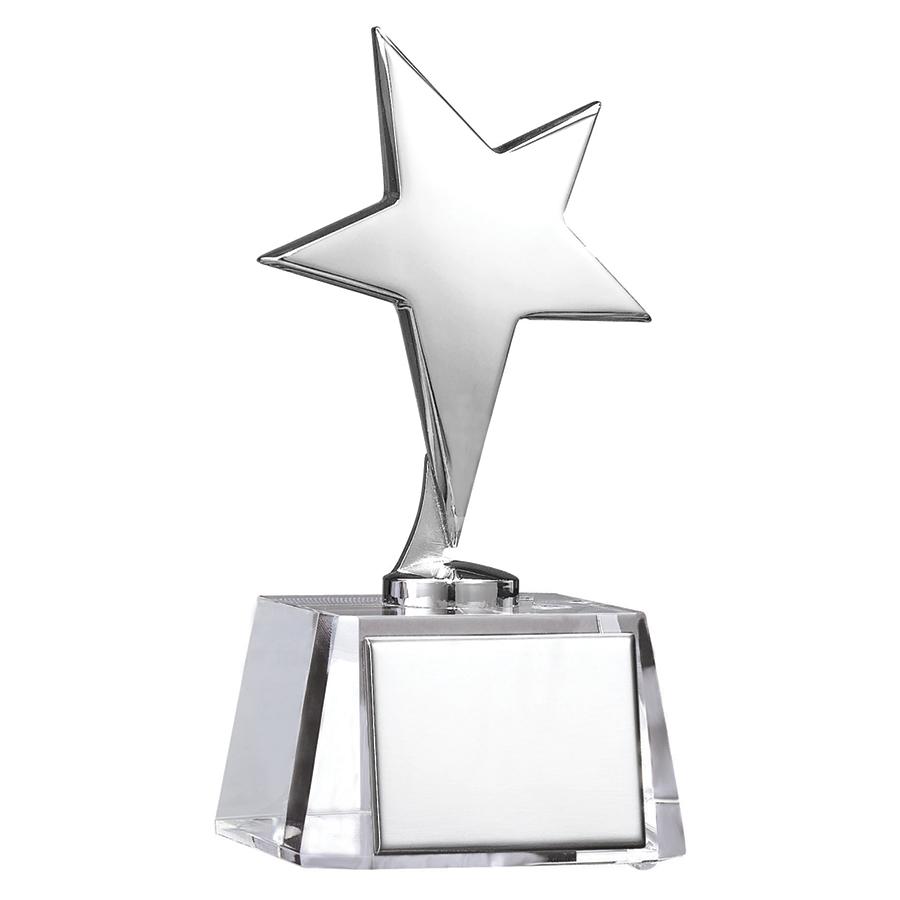 Фотография товара Стела «Звезда»; 7,7х7,6х15,6 см; стекло, металл; лазерная гравировка