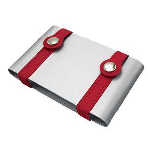 Фотография товара Визитница ; серебристый с красным; 10х6,5х2 см; металл; лазерная гравировка