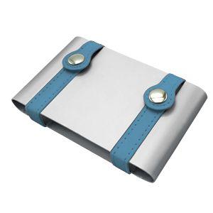 Фотография товара Визитница ; серебристый с бирюзовым; 10х6,5х2 см; металл; лазерная гравировка
