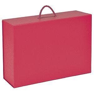 Коробка  складная подарочная  с ручкой, красный, 37×25 x10cm,  кашированный картон, тисн,  шелкогр.