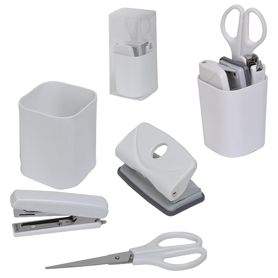 Набор «Офисный гаджет»;  4 предмета, , белый, 7*7*17 см; пластик; тампопечать