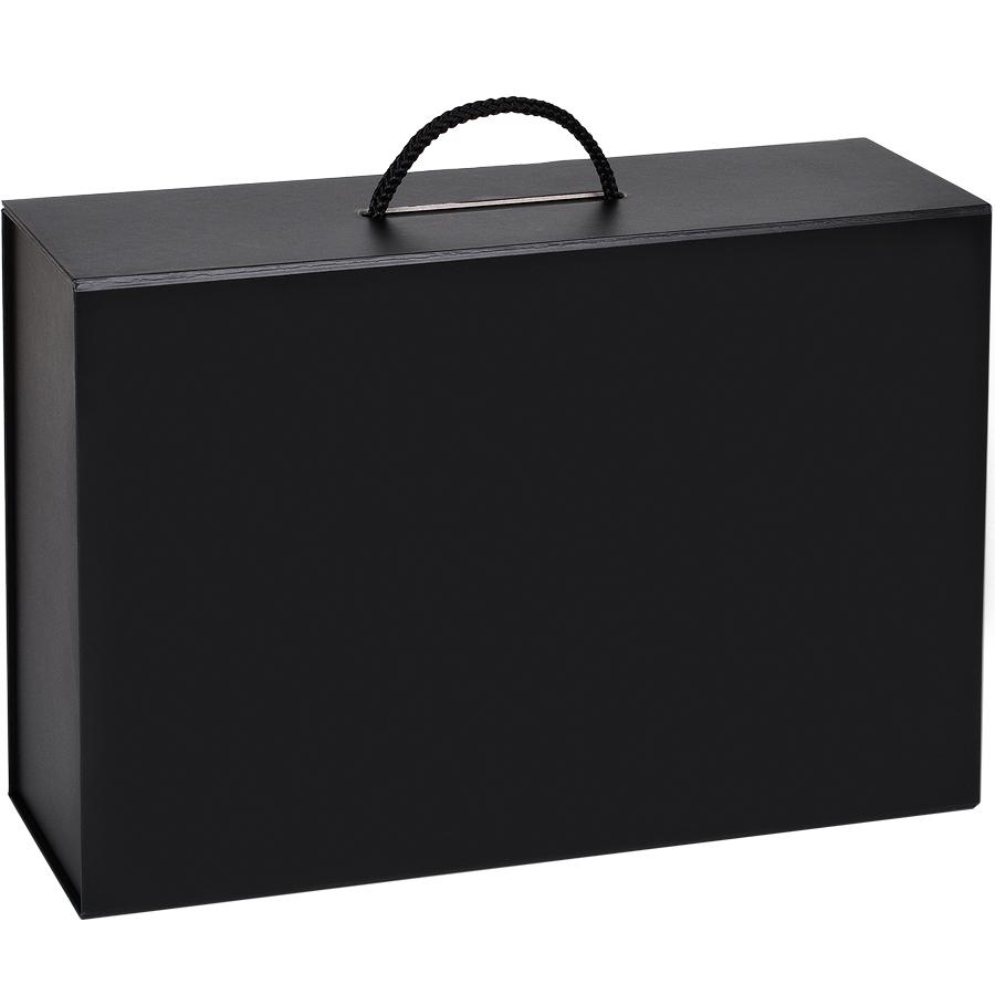 Фотография товара Коробка  складная подарочная  с ручкой,  черный, 37×25 x10cm,  кашированный картон, тисн