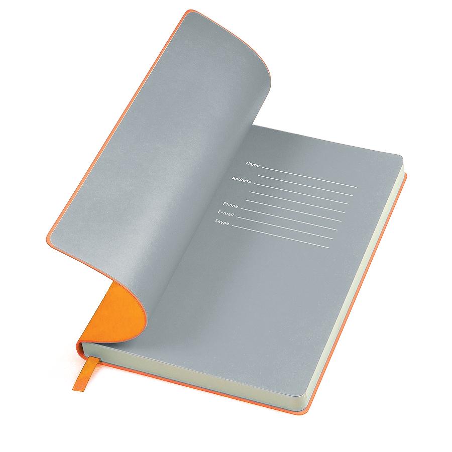 Фотография товара Бизнес-блокнот «Funky», 130*210 мм, оранжевый, серый форзац, мягкая обложка, в линейку