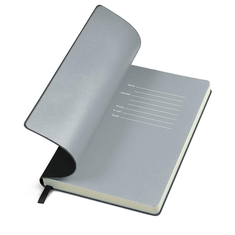 Фотография товара Бизнес-блокнот «Funky», 130*210 мм, черный, серый форзац, мягкая обложка, в линейку