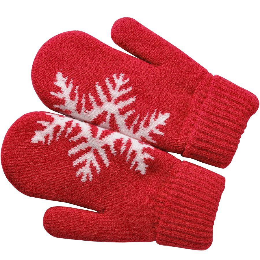 Фотография товара Варежки «Сложи снежинку!»,  красный, М, акрил/флис внутри,  шеврон