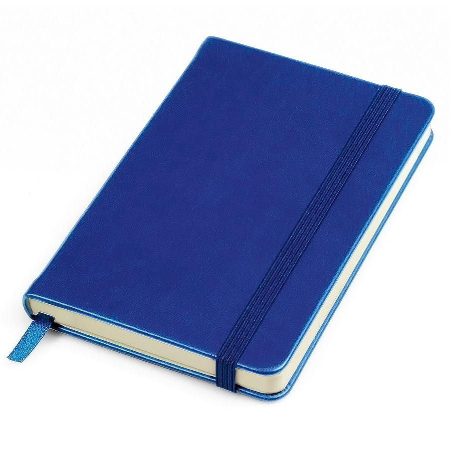 Фотография товара Бизнес-блокнот «Casual», 130*210 мм, синий, твердая обложка,  резинка 7 мм, блок-линейка, тиснение