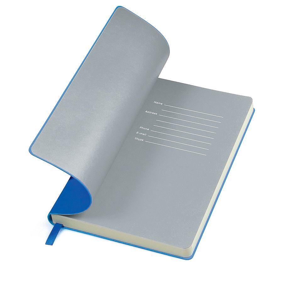 Фотография товара Бизнес-блокнот «Funky», 130*210 мм, синий, серый форзац, мягкая обложка, блок-линейка