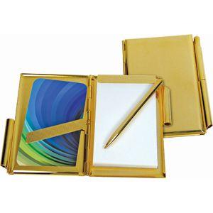 Визитница с блокнотом и авторучкой; желтый; 10х7х0,5 см; металл; лазерная гравировка