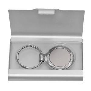 Фотография товара Визитница с брелоком; серебристый; 9,6х6,2 см; металл; лазерная гравировка, тампопечать