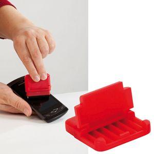 Фотография товара Подставка для мобильного телефона и электронных устройств с поверхностью  для протирки экрана;красны