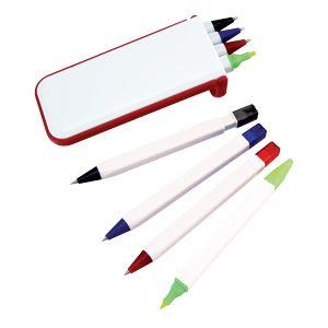 Фотография товара Набор «Help»: две цветных шариковых ручки,карандаш и маркер; красный; 13х1,2х5,2 см.; пластик