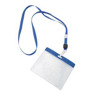 Фотография товара Ланъярд с держателем для бейджа; синий; 11,2х48,5х0,5 см; полиэстер, пластик; тампопечать, шелкограф