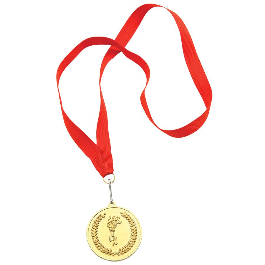Медаль наградная на ленте «Золото»; 48 см., D=5см.; текстиль, латунь; лазерная гравировка, шелкограф