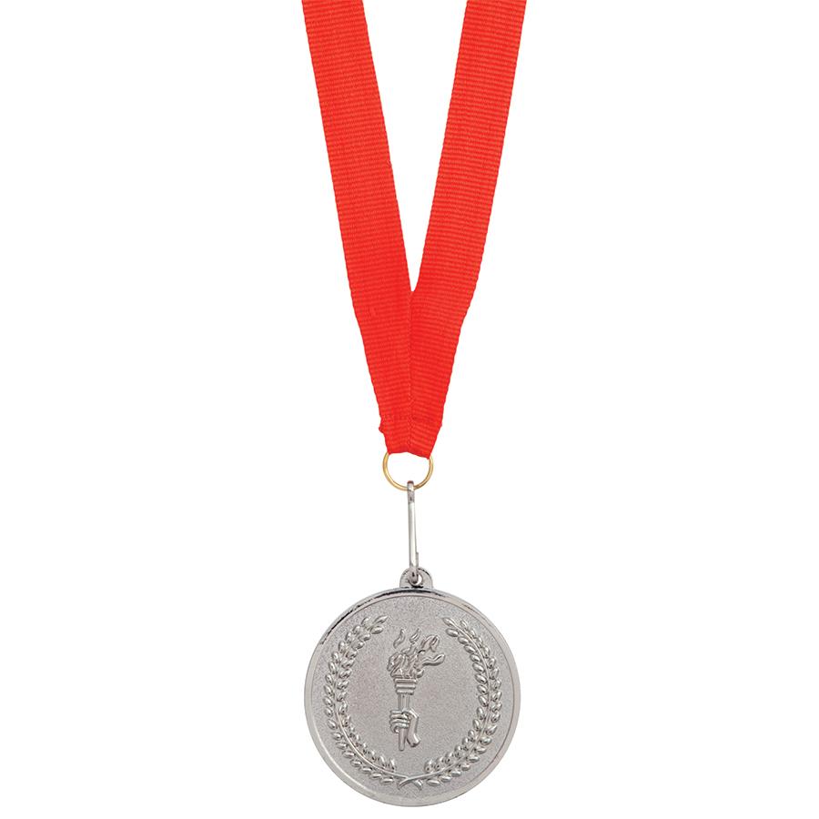 Медаль наградная на ленте «Серебро»; 48 см., D=5см.; текстиль, металл; лазерная гравировка, шелкогра