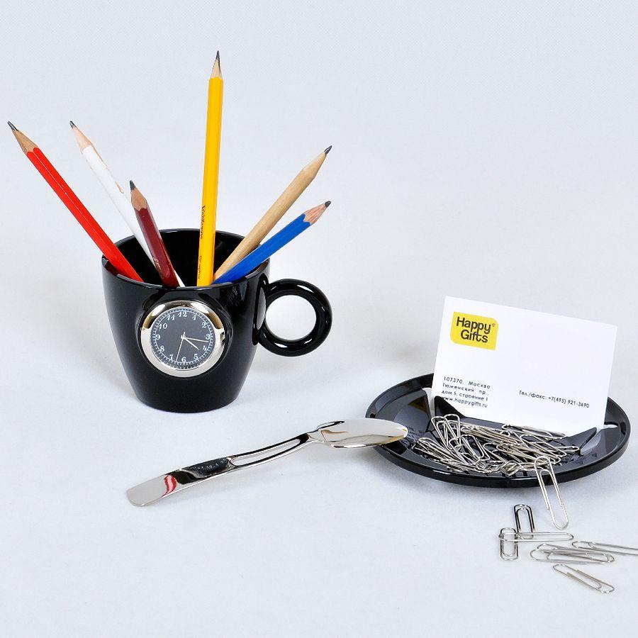 Набор офисный «Чайное трио»: часы, подставка для визиток и мобильного телефона и нож для вскрыт