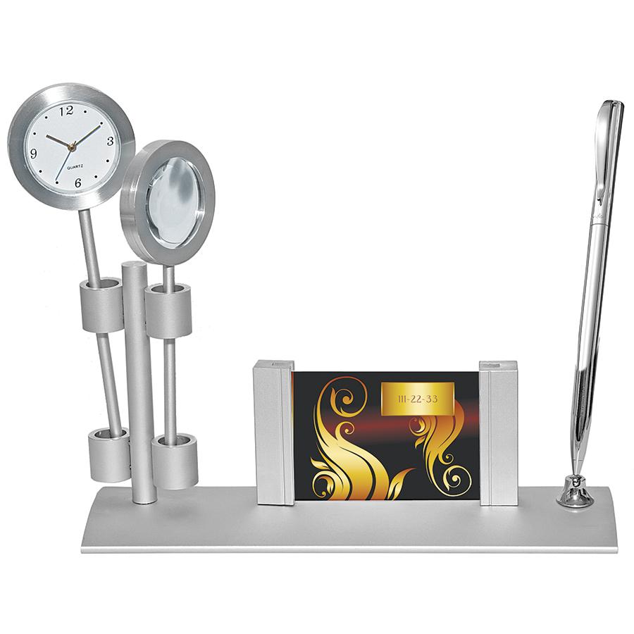 Прибор настольный с часами и лупой; 21,3х6,5х11 см; металл; лазерная гравировка