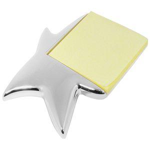 Подставка «Звезда» с блоком для записей; 14х10,5х1,3 см; посеребренный металл; лазерная гравировка
