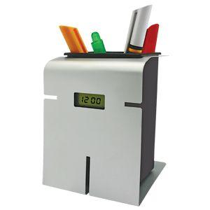 Подставка с часами для авторучек; 8х8,9х10,9 см; металл; лазерная гравировка