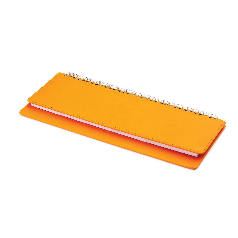 Планинг недатированный, Velvet, оранжевый, 305х130 мм, белый блок, открытый гребень, круглые углы