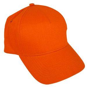 Бейсболка «Стандарт», 5 клиньев, металлическая застежка; оранжевый; 100% хлопок; плотность 175 г/м2