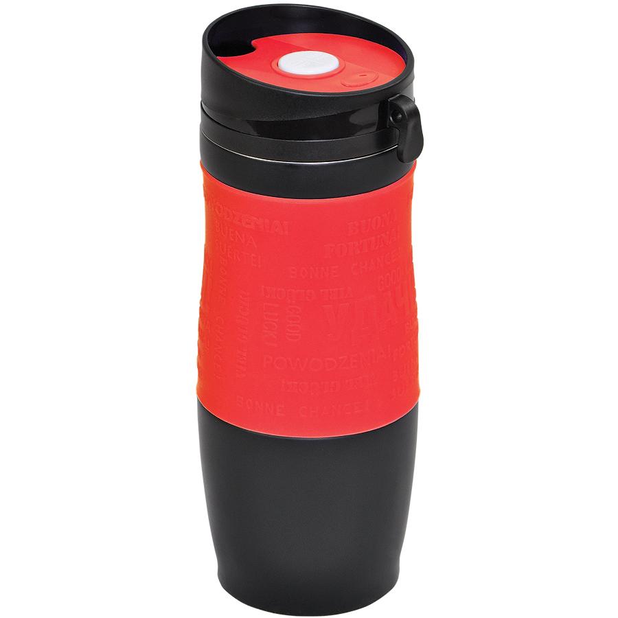 Термокружка вакуумная «УДАЧА»,  400 мл, красный, металл/силикон