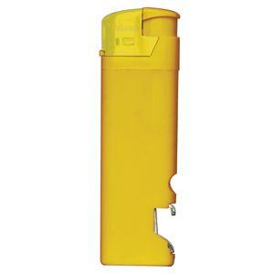 Зажигалка пьезо ISKRA с открывалкой, желтая, 8,2х2,5х1,2 см, пластик/тампопечать