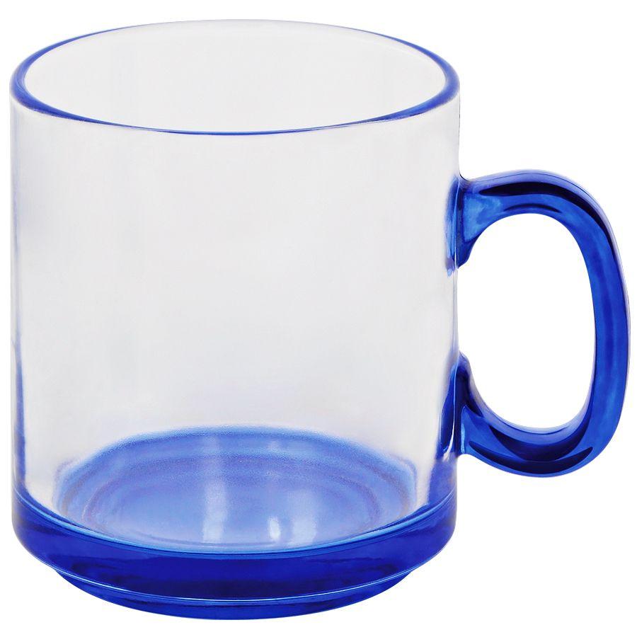 Кружка «Joyful»,прозрачная с синим,300мл,стекло