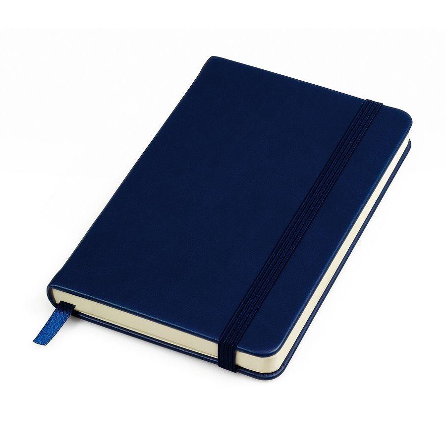 Фотография товара Бизнес-блокнот «Casual», 130*210 мм, темно-синий, твердая обложка,  резинка 7 мм, линейка, тиснение