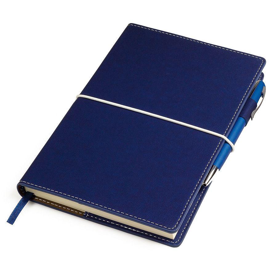 Фотография товара Бизнес-блокнот «BUSINESS», 130*210 мм, синий,  съемная обложка,  блок-линейка, тиснение