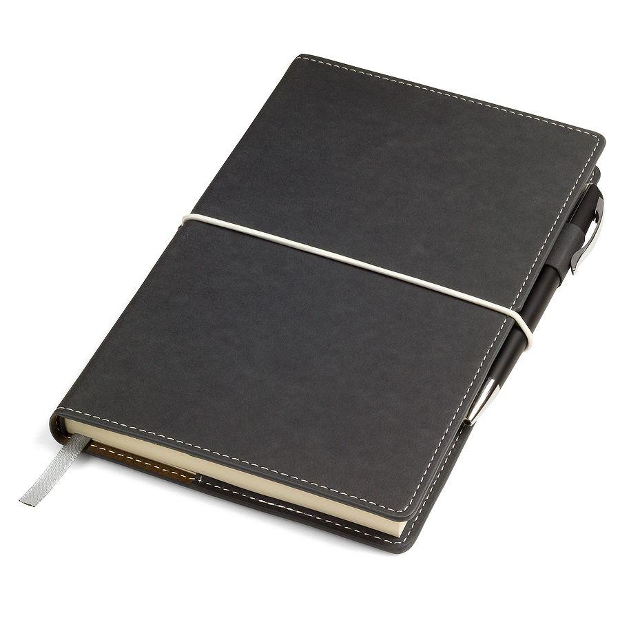 Фотография товара Бизнес-блокнот «BUSINESS», 130*210 мм, серый,  съемная обложка,  блок-линейка, тиснение