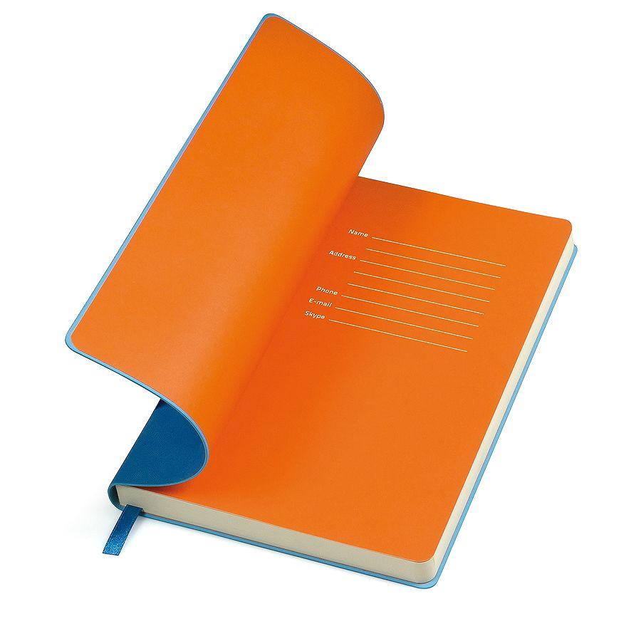 Фотография товара Бизнес-блокнот «Funky», 130*210 мм, голубой,  оранжеый форзац, мягкая обложка, блок-линейка